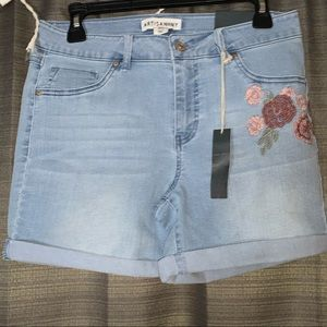 Jean shorts with pink floral designs